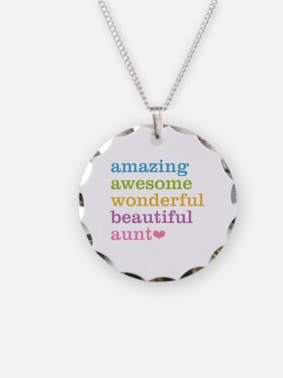 Amazing Aunt Necklace Circle Charm