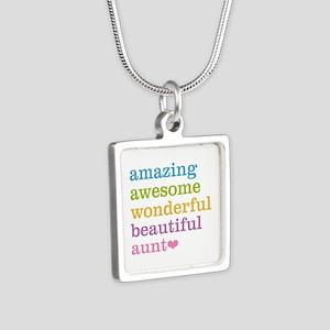 Amazing Aunt Silver Square Necklace