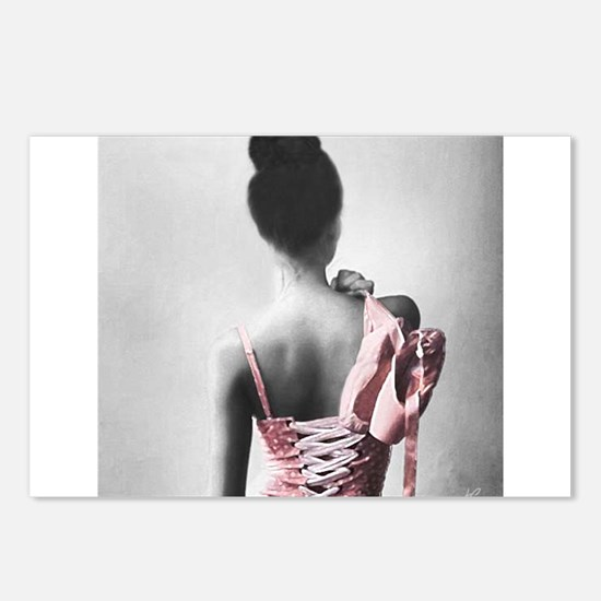 Black and White Dancer in Pastel Pink Postcards (P
