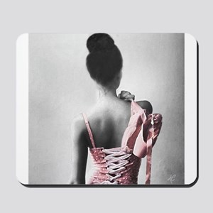 Black and White Dancer in Pastel Pink Mousepad