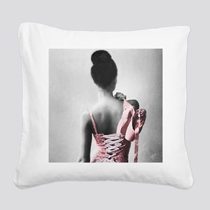 Black and White Dancer in Pastel Pink Square Canva