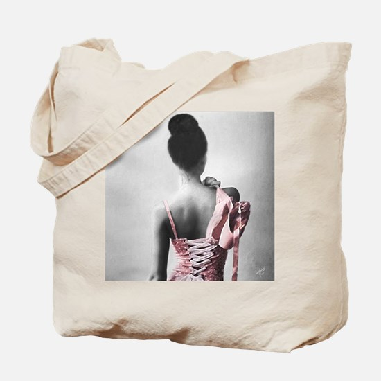 Black and White Dancer in Pastel Pink Tote Bag