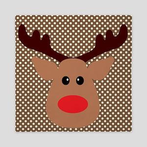 Red Nosed Reindeer on Polka Dots Queen Duvet
