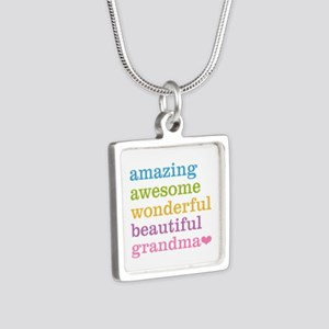 Amazing Grandma Silver Square Necklace