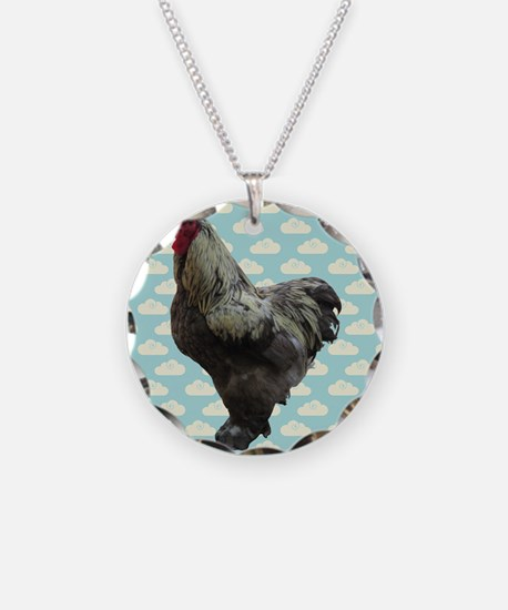 Chicken on Blue and White Clouds Necklace
