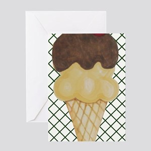 Ice Cream Cone on Green Lattice Greeting Cards