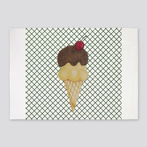 Ice Cream Cone on Green Lattice 5'x7'Area Rug