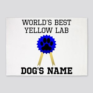 Worlds Best Yellow Lab (Custom) 5'x7'Area Rug