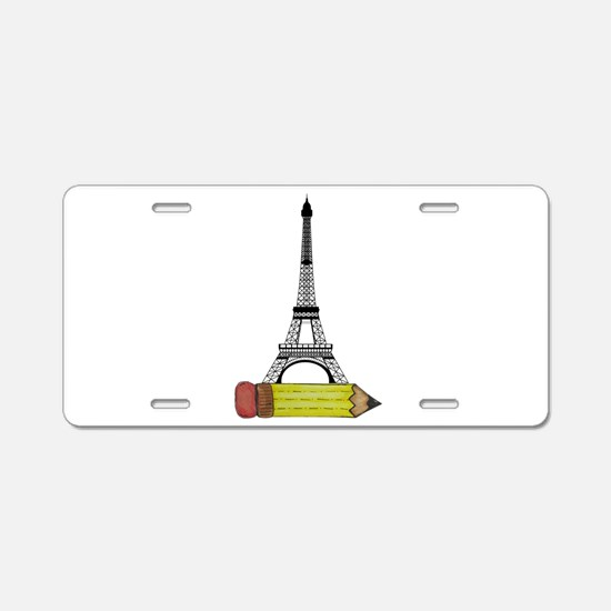 Eiffel Tower on Pencil Aluminum License Plate