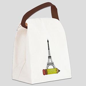 Eiffel Tower on Pencil Canvas Lunch Bag
