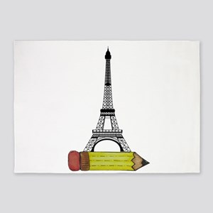 Eiffel Tower on Pencil 5'x7'Area Rug