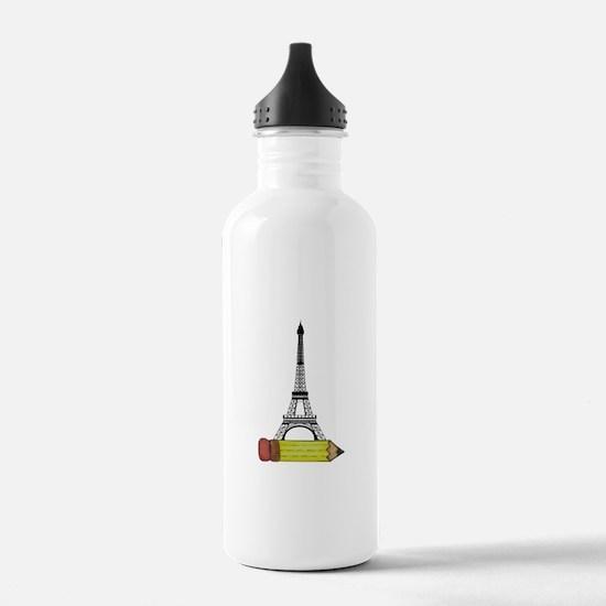 Eiffel Tower on Pencil Water Bottle