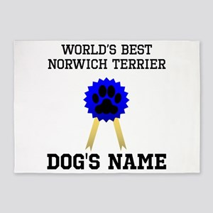 Worlds Best Norwich Terrier (Custom) 5'x7'Area Rug
