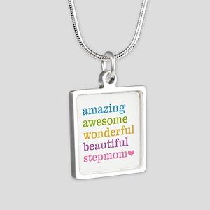 Amazing Stepmom Silver Square Necklace