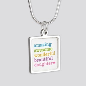 Amazing Daughter Silver Square Necklace