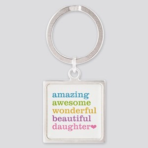 Amazing Daughter Square Keychain