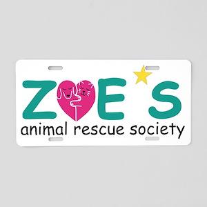 Zoe's Animal Rescue Aluminum License Plate