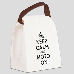 Keep Calm Moto On Canvas Lunch Bag