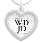 Jesus-WDJD Silver Heart Necklace