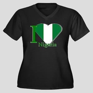 I love Nigeria Women's Plus Size V-Neck Dark T-Shi