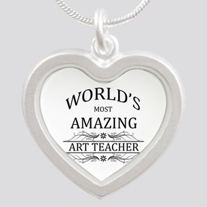 World's Most Amazing Art Tea Silver Heart Necklace