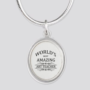 World's Most Amazing Art Teac Silver Oval Necklace