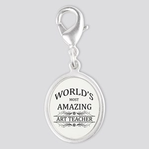 World's Most Amazing Art Teache Silver Oval Charm