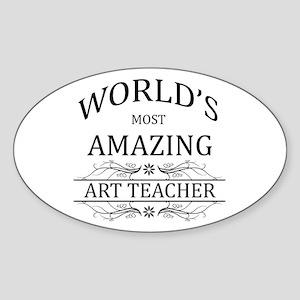World's Most Amazing Art Teacher Sticker (Oval)