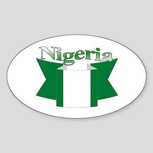 Nigeria flag ribbon Oval Sticker