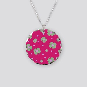 Cute Hot Pink LUCKY IN LOVE Necklace Circle Charm