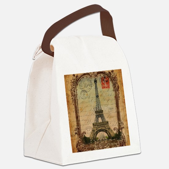vintage scripts postage paris eif Canvas Lunch Bag