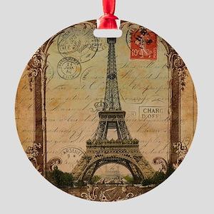 vintage scripts postage paris eiffe Round Ornament