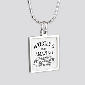 World's Most Amazing Schoo Silver Square Necklace