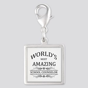 World's Most Amazing School C Silver Square Charm