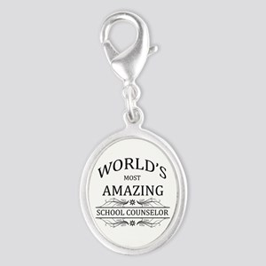 World's Most Amazing School Cou Silver Oval Charm
