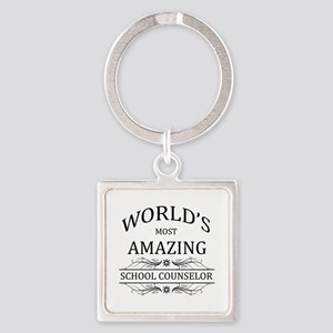 World's Most Amazing School Counse Square Keychain