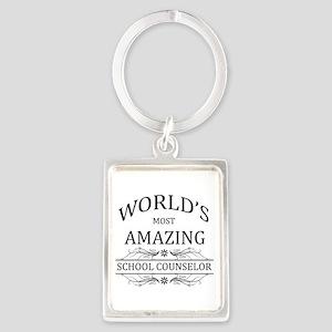 World's Most Amazing School Coun Portrait Keychain
