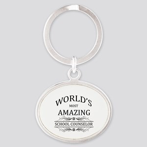 World's Most Amazing School Counselo Oval Keychain
