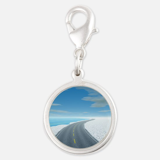 Ice Road Silver Round Charm