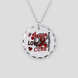 Multiple Myeloma Peace Love Necklace Circle Charm