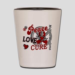 Multiple Myeloma Peace Love Cure 2 Shot Glass