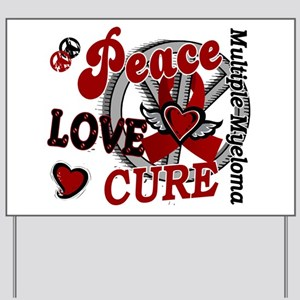 Multiple Myeloma Peace Love Cure 2 Yard Sign