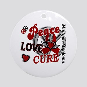 Multiple Myeloma Peace Love Cure Ornament (Round)