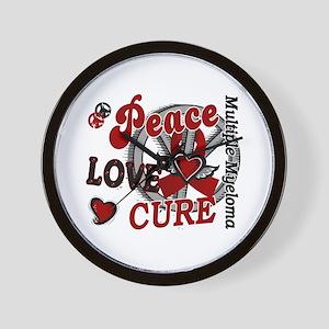 Multiple Myeloma Peace Love Cure 2 Wall Clock