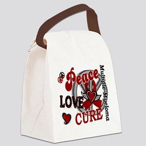 Multiple Myeloma Peace Love Cure Canvas Lunch Bag