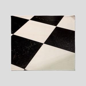 Black & White Checkered Floor Throw Blanket