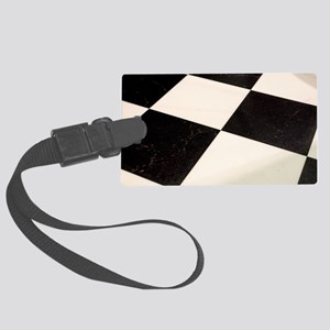 Black & White Checkered Floor Large Luggage Tag