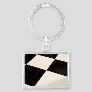 Black & White Checkered Floor Landscape Keychain