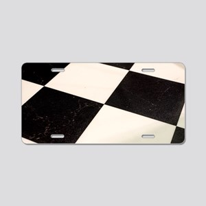 Black & White Checkered Flo Aluminum License Plate