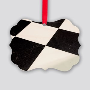 Black & White Checkered Floor Picture Ornament